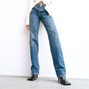Zara Button Fly Straight Leg Jeans High Rise